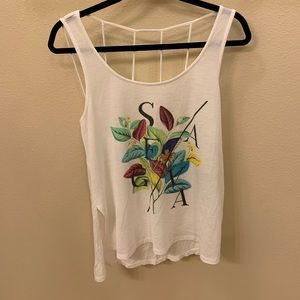 Cool Pull&Bear White Tank Top With Floral Design